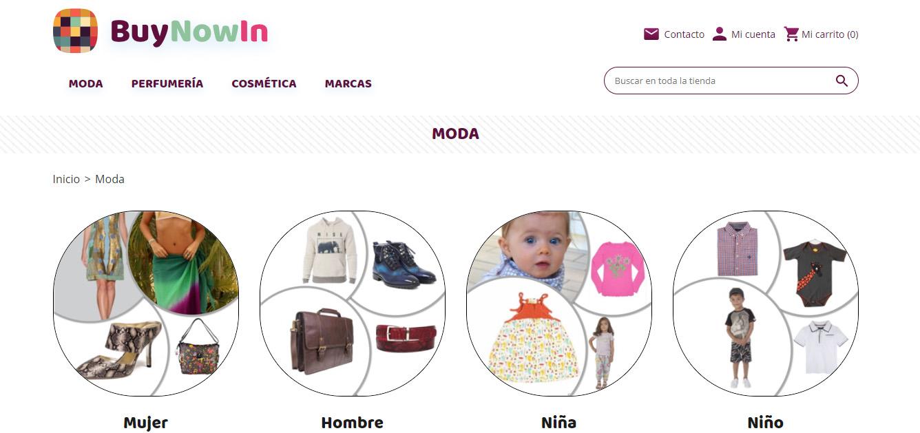 Ficha Categorías del ecommerce BuyNowIn