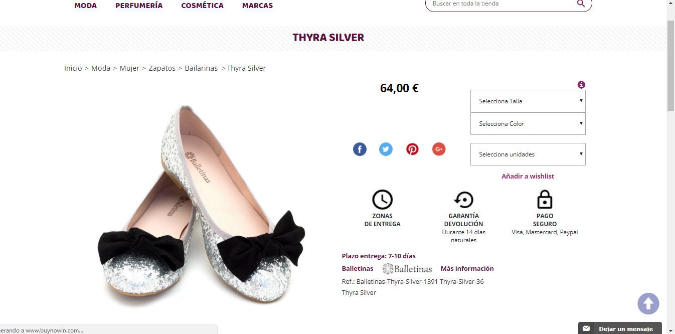 Ficha de producto de la tienda online a medida BuyNowIn