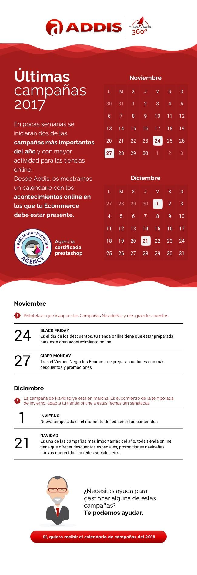 Calendario de las fechas más señaladas de los próximos meses del 2017