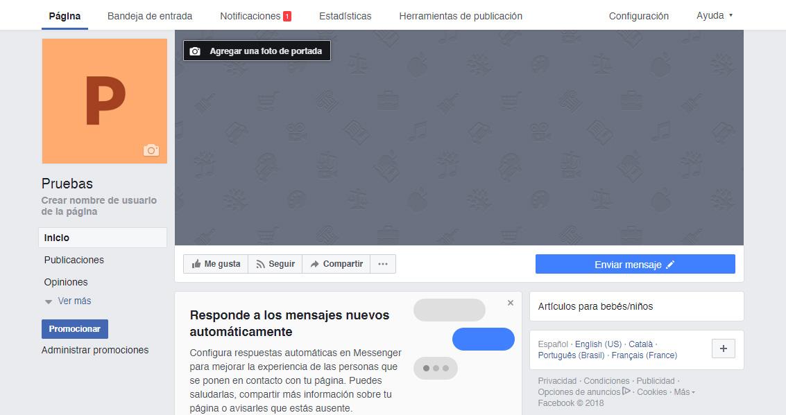 Creación de una Fan Page para una tienda online